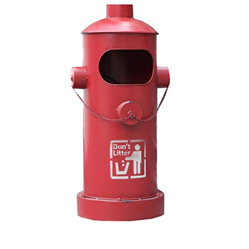 Wastebaskets American Retro Industrial Style Outdoor Forged Iron fire Hydrant Shaped Trash can, Office Trash can, (Color : Red)]()