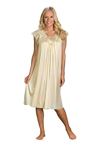Shadowline Women's Plus-Size Silhouette 40 Inch Short Cap Sleeve Waltz Gown, Ivory, - Waltz Gown Sleeve