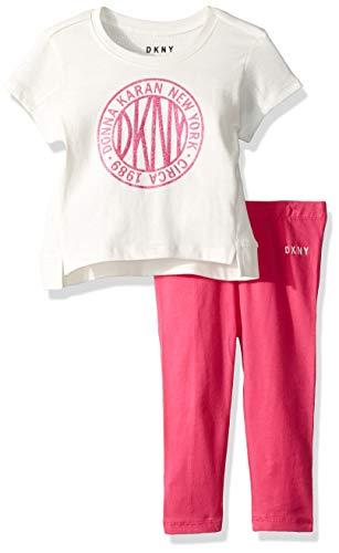 DKNY Baby Girls Short Sleeve Fashion T-Shirt and Legging Set, Dancer Magenta, 24M