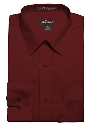 Alberto Danelli Men's Solid Long Sleeve Dress Shirt,Wine,Large / 16-16.5