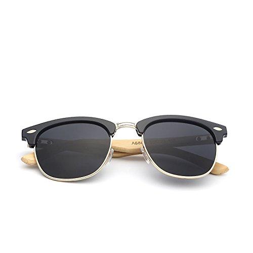 de Ducomi Classic Protección con Negro de Sol Gafas Caña Negro Bambú de Master UV400 Madera rzqxBwr