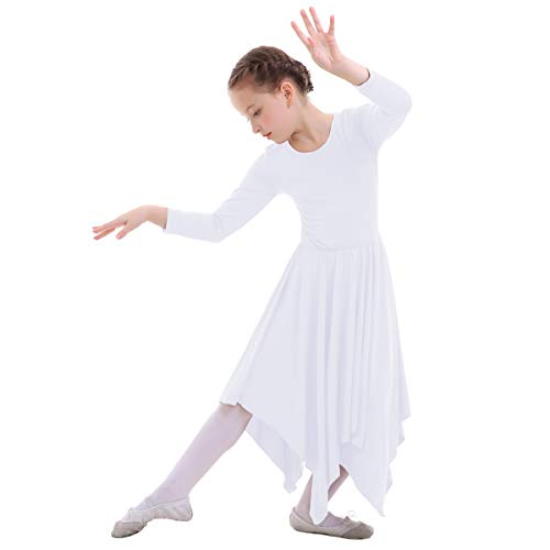 - FYMNSI Kid Girls Irregular Hemline Long Sleeve Liturgical Praise Dress Solid Loose Fit Pleated Lyrical Dance Dress White 9-10T
