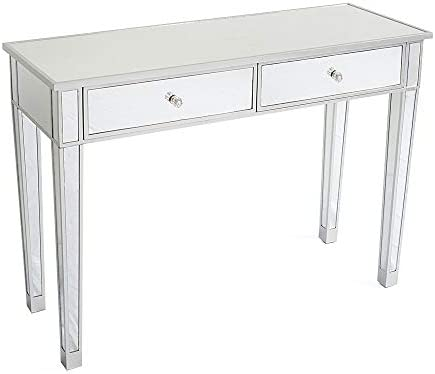 2 Drawers Glass Mirrored Makeup Table. Dressing Table Desk Vanity