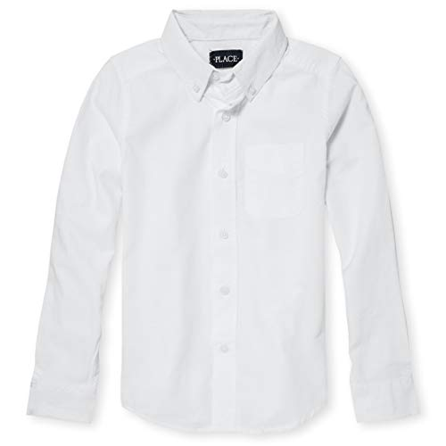 The Children's Place Big Boys' Long Sleeve Uniform Oxford Shirt, White 5063, Large/10/12 (White Boys Big Shirt)