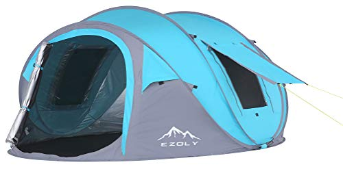 with UV Protection, EZOLY Family 3 4 Persons Pop up Tent for Camping Hiking with UV Protection Instantly in Seconds…
