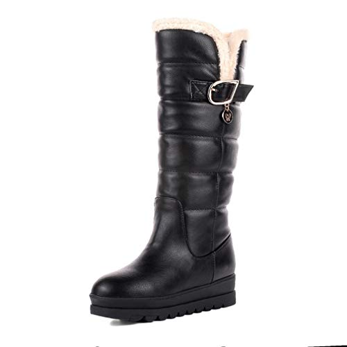 Women's Winter Waterproof Fully Fur Lined Pull On Platform Knee High Snow Boots Black