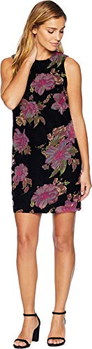 Floral Dress Trapeze - Calvin Klein Women's Floral Burnout Trapeze Dress CD8V2X4Q Black Multi 14