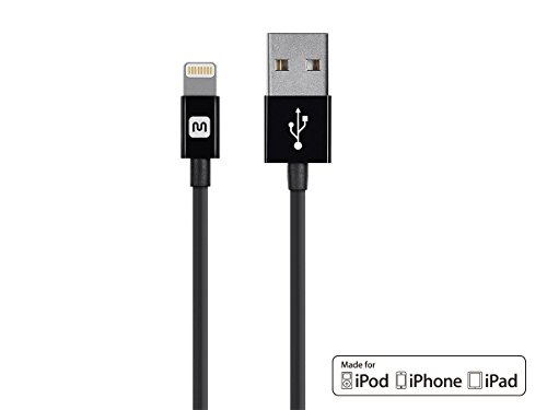Monoprice Select Series Apple MFi Certified Lightning to USB Charge & Sync Cable, 6-inch Black for iPhone X, 8, 8 Plus, 7, 7 Plus, 6, 6 Plus, 5S, iPad Pro - Black Sync