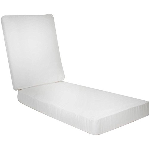 Ultimatepatio.com Extra Long Replacement Outdoor Chaise Lounge Cushion With Knife Edge – Canvas Natural For Sale