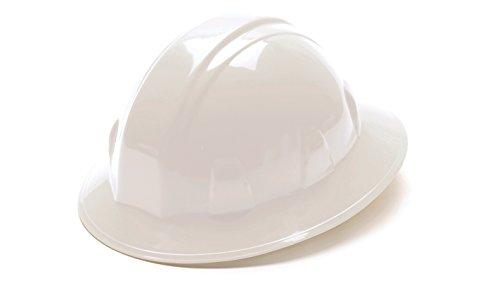 Pyramex White Full Brim Style 4 Point Ratchet Suspension Hard Hat (White Hardhat)