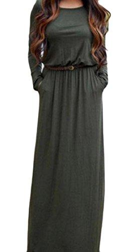 Coolred-femmes À Long Encolure Ras Du Cou À Manches Larges Poches Ceinturé Conception Robes Tunique Couleur Unie Vert Noirâtre