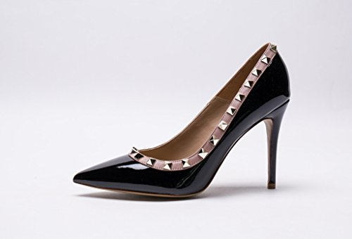 Studs Patent Studded Black Pan Toe Pumps Trim Stiletto Kaitlyn Pointed Leather Heel High Genuine gold nude qZwppHtF