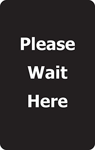 Tensabarrier SIGN-BRAC-0711-250-33-V-S21 Vertical''Please Wait Here'' Single Faced Sign, Bracket Mounted, 7'' x 11-1/4'' Thick, Black