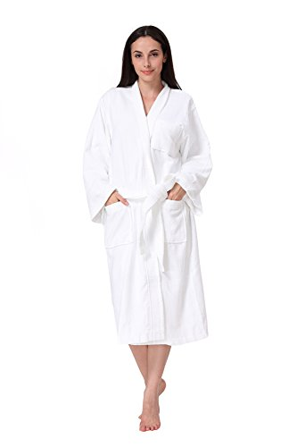 Acanva Women's & Men's Terry Robe Plush Cotton Spa Kimono Bathrobe, White Kimono Cloth