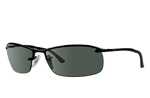 - Ray-Ban RB3183 Sunglasses 63 mm (63 mm, Black Metal Frame/Green Classic Lens)