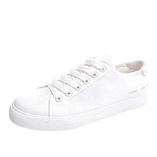 scarpe uomo semplice da Scarpe fondo con piatto scarpe uomo XFF traspiranti casual uomo da scarpe bianca tela basse in tinta unita bianche da XwEqUU5