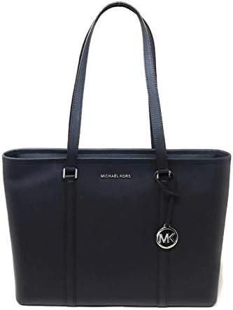 MICHAEL Michael Kors Sady Large Multifunction Top Zip Tote Shoulder Bag navy Blue Silver Hardware
