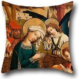 16 X 16 Inches / 40 By 40 Cm Oil Painting Master Of Lichtenstein Castle - Nativity (The Holy Night) Pillow Covers,twin Sides Is Fit For Her,kids Girls,office,home Theater,lover,boys
