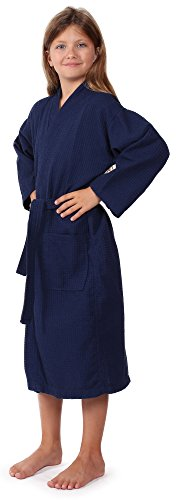Indulge Premium Linen Waffle Robe for Girls and Boys; Spa Party, Summer Lightweight (Large, Navy Blue)
