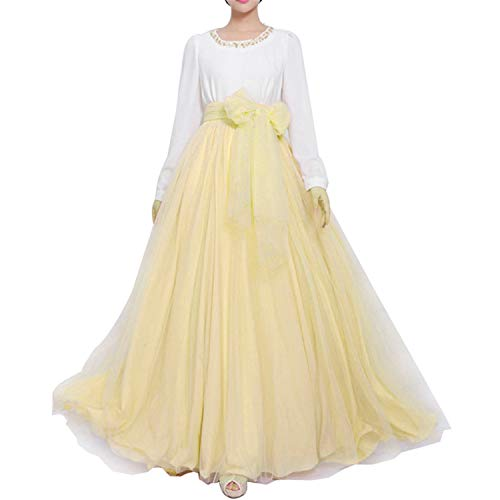 Women Wedding Long Maxi Puffy Tulle Skirt Floor Length A Line with Bowknot Belt High Waisted for Wedding Party Evening (Light Yellow, Medium,US 4-16)