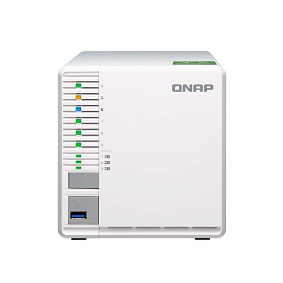 "QNAP TS-332X 3-Bay 64-bit NAS with Built-in 10G Network. Quad Core 1.7GHz, 2GB RAM, 1 X 10GbE (SFP+), 2 X 1GbE, 3 X 3.5/2.5"" Drive Slots, 3 X M.2 SATA 2280 Slots, RAID 0/1/5 1 AL324 64-bit quad-core 1.7GHz, 2GB DDR4 SODIMM RAM (1 x 2GB, max 16GB) 3 x 3.5""/ 2.5"" Drive slots, 3 x M.2 SATA 2280 slots, 1 x 10GbE SFP+ LAN, 2 x GbE LAN, hardware encryption Build a secure RAID 5 array with three disks for optimized storage capacity and protection against one Disk failing."