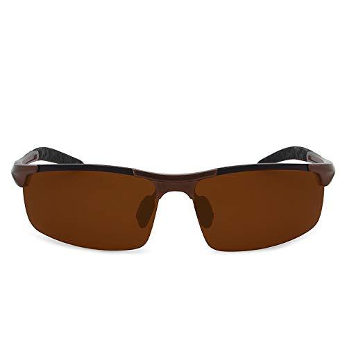 Gafas Ciclismo para Mg Al Polarizadas Protección Deportivas Ultraligero Pesca Hombre Gafas AMZTM de oscuro oscuro El Sol Marron Marron para UV zCx4vqv