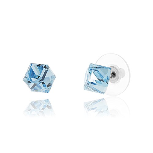Cube Ring (Lesa Michele Aqumarine Blue Cube Earring in Stainless Steel made with Swarovski Crystals)