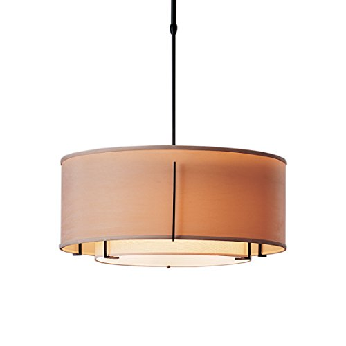 Hubbardton Forge 139605F-20S-ABBJ Exos Double Shade Drum Pendant with Short Cork Shade, Doeskin Suede, Natural Iron ()