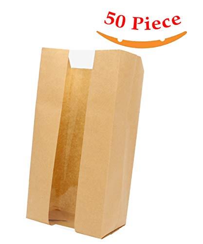 Aosheng 50 PCS Brown Kraft Paper Bread Loaf Bag Lunch Food Packaging Storage Clear Windown Design Bakery Bag (4.72 X 3.54 X 11.81 Inch)