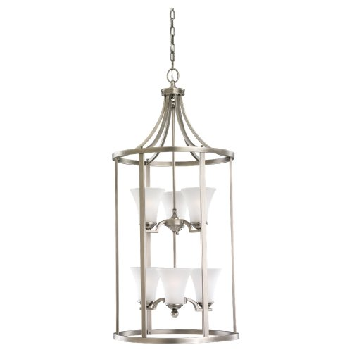 Sea Gull Lighting 51376-965 6-Light Hall and Foyer Fixture, Satin Etched Glass Shades and Antique Brushed Nickel