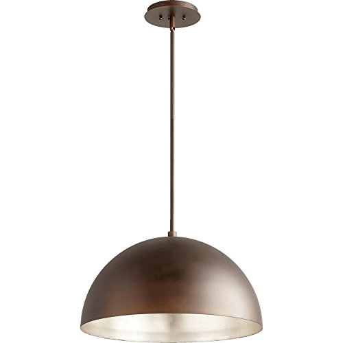 1-Light Dome Pendant Oiled Bronze/Aged Silver Leaf by Quorum Vintage Design Perfect for Re-Station Projects or Adding a Fresh Look To a Kitchen Island, Over a Bar, or a (Aged Bronze Pendant Lamp)