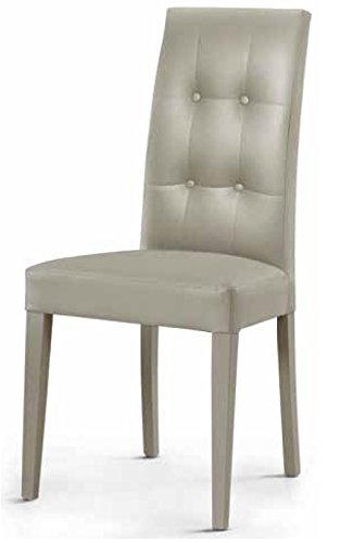Montefioredesign - Set 2 sedie In Ecopelle Grigio Con Schienale ...