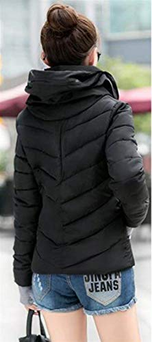Bolsillos Con Invierno Capucha Moda Outerwear Cordón Manga Retro Laterales Unicolor Mujer Schwarz Cremallera Joven Caliente Larga Chaqueta Plumas dI05qwdp
