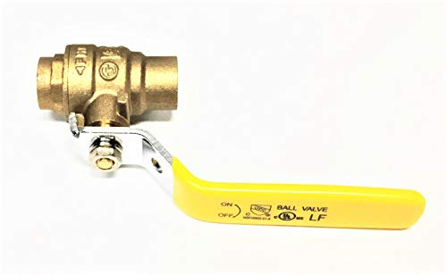 Valogin A30172-1/2 Fully Certified Lead Free Full Port Forged Brass Ball Valve with Sweat Connections(Solder), 1/2