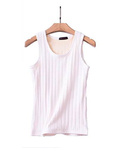 FOURSTEEDS Womens Basic Camisole Thermal Underwear Thick Fleece Lined Cami Tank Top White XXL (US 8-10)