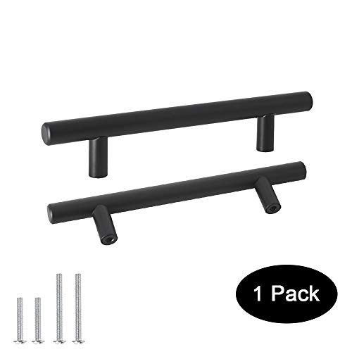 Probrico Cabinet Hardware Black Cabinet Pulls, 4 inch Hole Centers Drawer pulls, Stainless Steel Cabinet Handles of 1 Pack for Kitchen Furniture ()