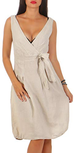 Malito Damen Leinenkleid im Klassik Design | Elegantes Cocktailkleid | schickes Abendkleid | Partykleid - A Linie 8147