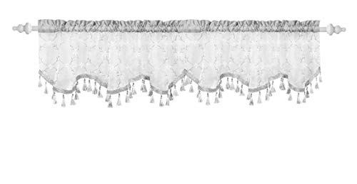 Decorative Sheer Top Valance: Embroidered Floral Design with Scallop Border Bead and Tassel Trim (Silver Gray)