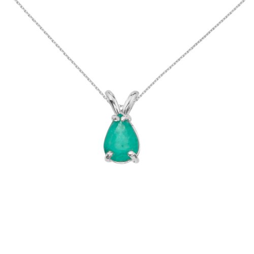 Pear Emerald Pendant - 14k White Gold Pear Shaped Emerald Pendant with 18