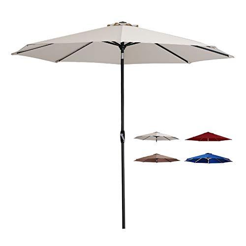 Tempera Patio Umbrella 10 Ft Outdoor Garden Table Umbrella with Crank and Auto-Tilt 8 Ribs in 200G Oatmeal Olefin Canopy