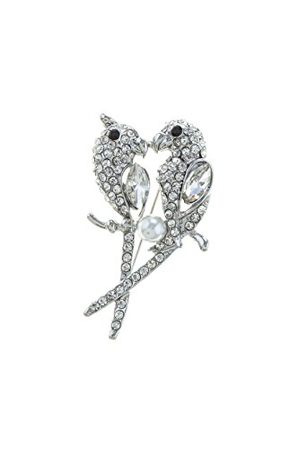 Weiss Costume Jewelry (TRENDY FASHION JEWELRY FAUX PEARL AND CRYSTAL BIRD COUPLE BROOCH BY FASHION DESTINATION | (Silver/Pearl))