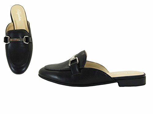Paprika Para Mujer Goldtone Horsebit Hardware Backless Slip On Loafer Black Pu *
