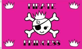 Pirate Princess Crown Traditional Flag (Pirate Girl Flag)