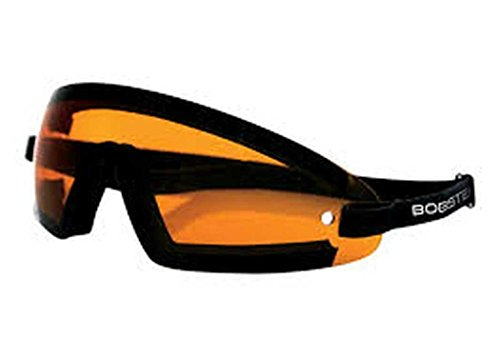 Bobster Wrap Wrap Around Cruiser Motorcycle Goggles Eyewear - Black/Amber / One Size Fits All