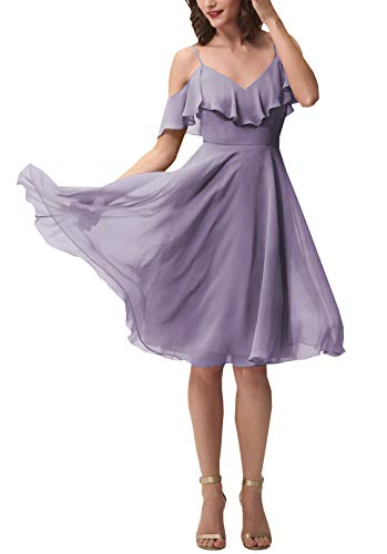 Now and Forever Short A-Line V Neck Ruffled Chiffon Prom Bridesmaid Dresses for Women Formal Gown (Wisteria,14) -