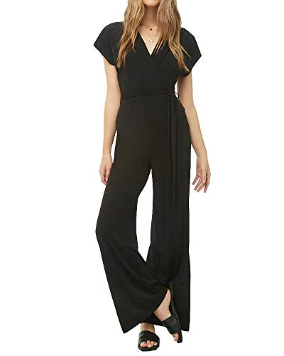(CLOZOZ Women's Sexy Lapel V Neck Short Sleeve Trim Wide Leg High Waist Belted Long Jumpsuit (Black, M))