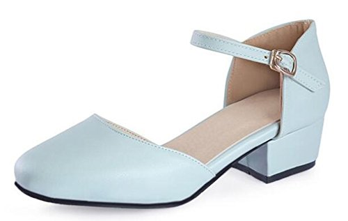 SHOWHOW Women's Comcy Solid Round Toe Buckle Ankle Strap Mid Block Heel Work Pumps Shoes Blue 8.5 B(M) US