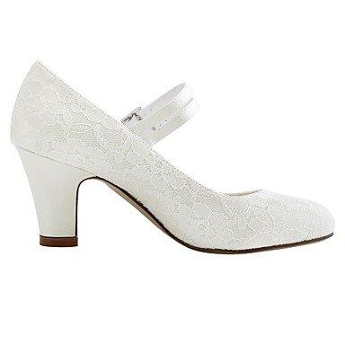 DESY Mujer Zapatos de boda Pump Básico Satén Elástico Primavera Otoño Boda Fiesta y Noche Cristal Tacón Robusto Blanco Marfil 5 - 7 cms ivory