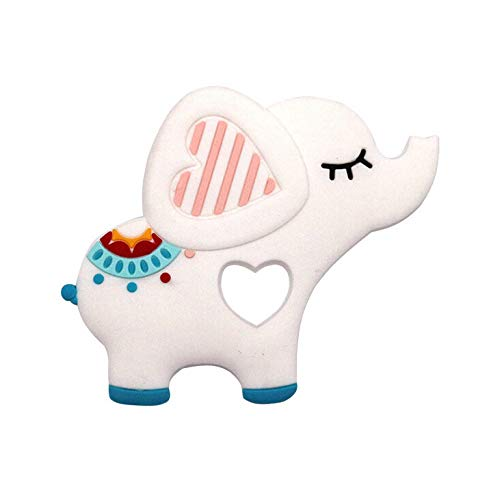 Ktyssp Elephent Baby Teether Silicone Soother Pacifier Chewable Teething Toy Pendant (White)
