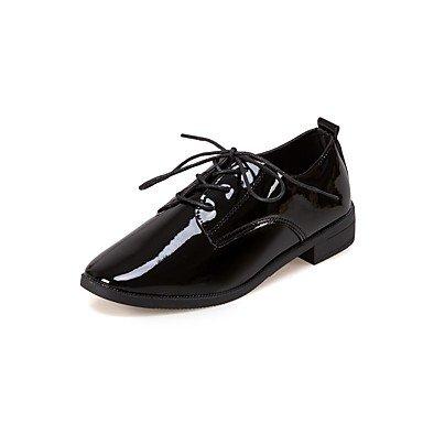 Heart&M Damen Schuhe Oxford Herbst Komfort Outdoor Flacher Absatz Spitze Zehe Mit Schnürsenkel Für Normal Kleid Schwarz Rot black